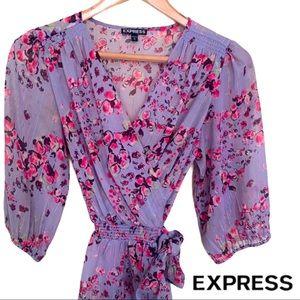 Express Sheer Purple 🌸 Wrap Top